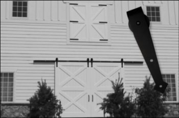 Arrowhead Hangers on Bi-Parting Barn Door