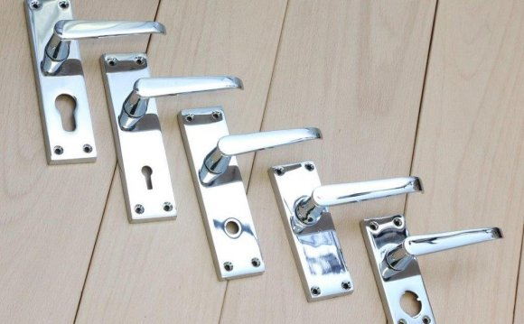 Chrome bathroom Door Handles with Lock